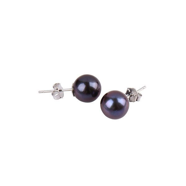 dyed black round pearl stud earring