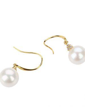 ERWR9YGD diamond gold pearl earring