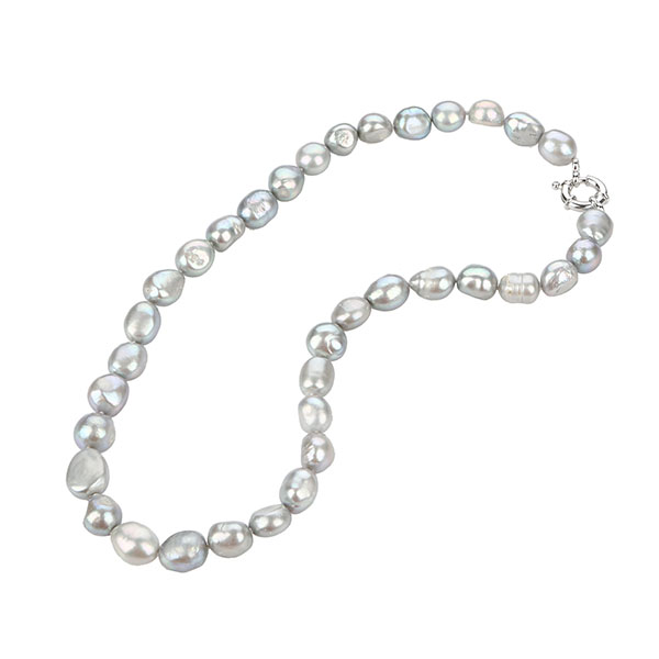 cheap dyed grey freshwater pearl necklace with silver clasp