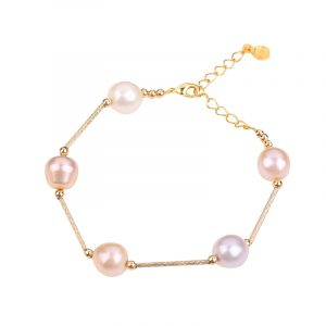 yellow gold plated chain pearl bracelet inspiring pearls