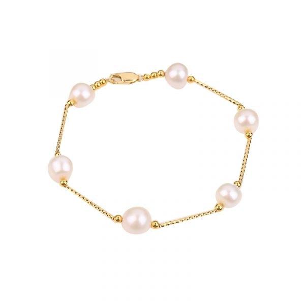yellow gold chain pearl bracelet inspiring pearls