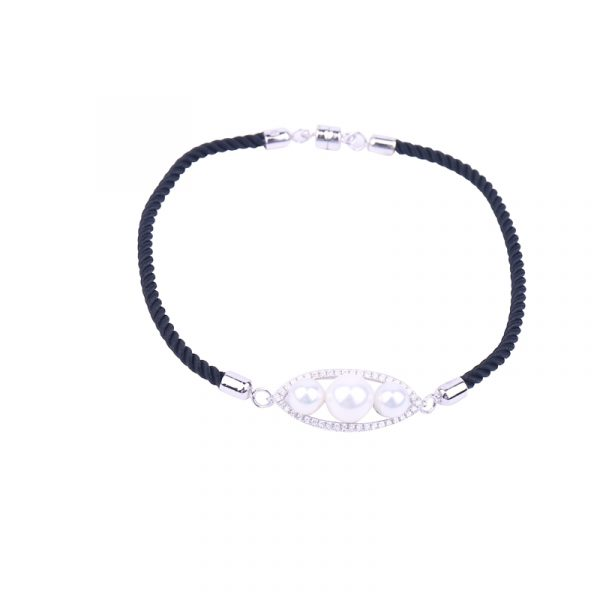 silk rope CZ bracelet inspiring pearls