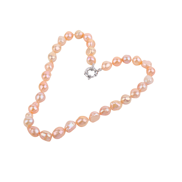 peach colour baroque pearl necklace inspiring pearls