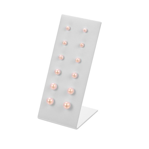pink round freshwater pearl studs stand