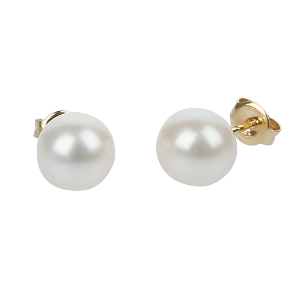 9CT YELLOW GOLD ROUND PEARL STUDS