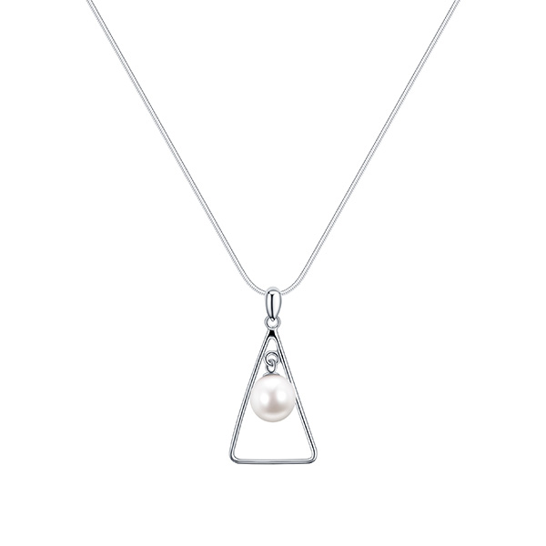 TRIANGLE SILVER PEARL NECKLACE INSPIRING PEARLS