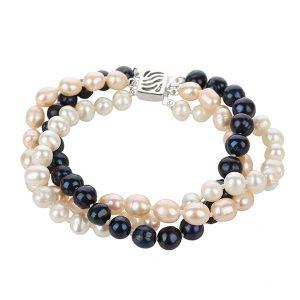 3 row Freshwater pearl bracelet BR3WPB7