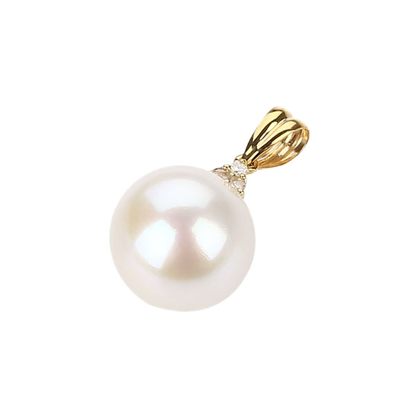 9ct gold diamond pearl pendant