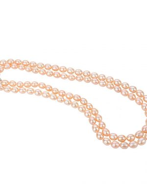 double strand pink pearl necklace NLPDC82R